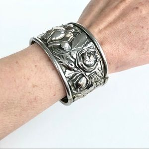 Vintage Repousse Wide Cuff Hinged Bracelet
